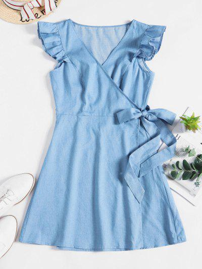 ZAFUL Ruffle Chambray Wrap Dress - Denim Blue S