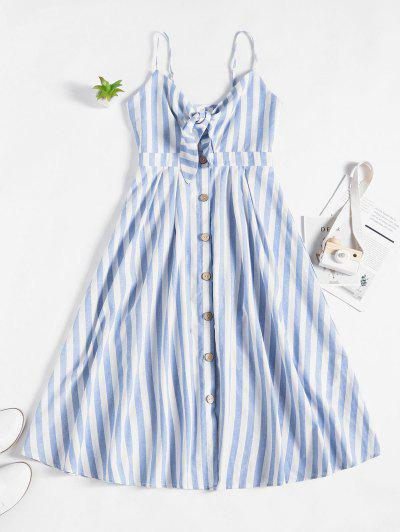 ZAFUL Knot Striped Button Down Cami Dress - Multi-a S