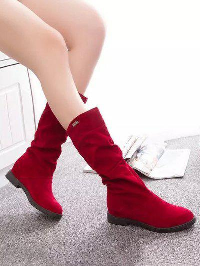 Increased Internal Ruched Mid Calf Boots - Lava Red Eu 38