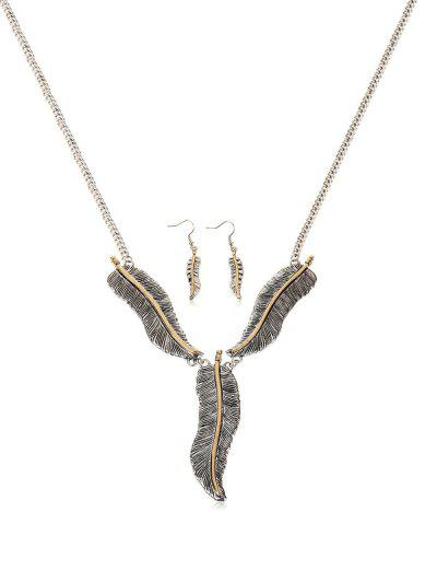 Feather Shape Pendant Jewelry Set - Silver