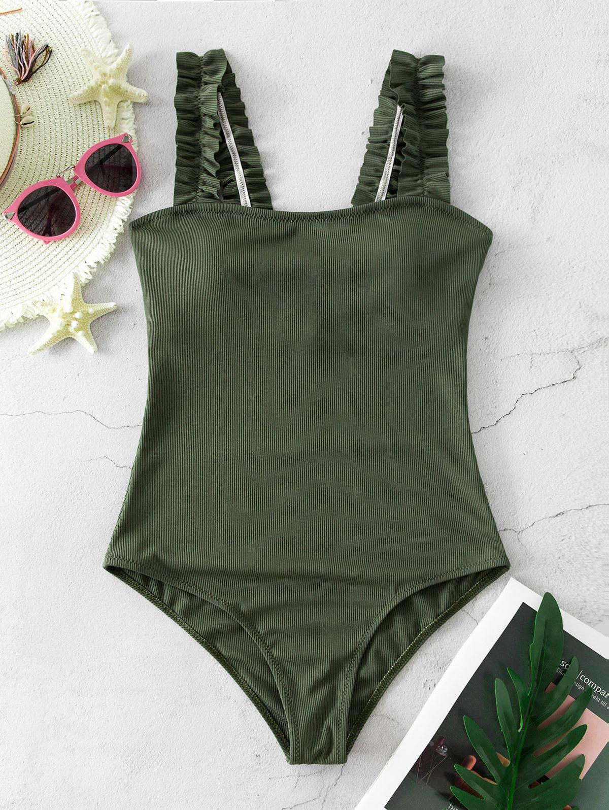 ZAFUL Ribbed Frilled Square Neck One-piece Swimsuit фото