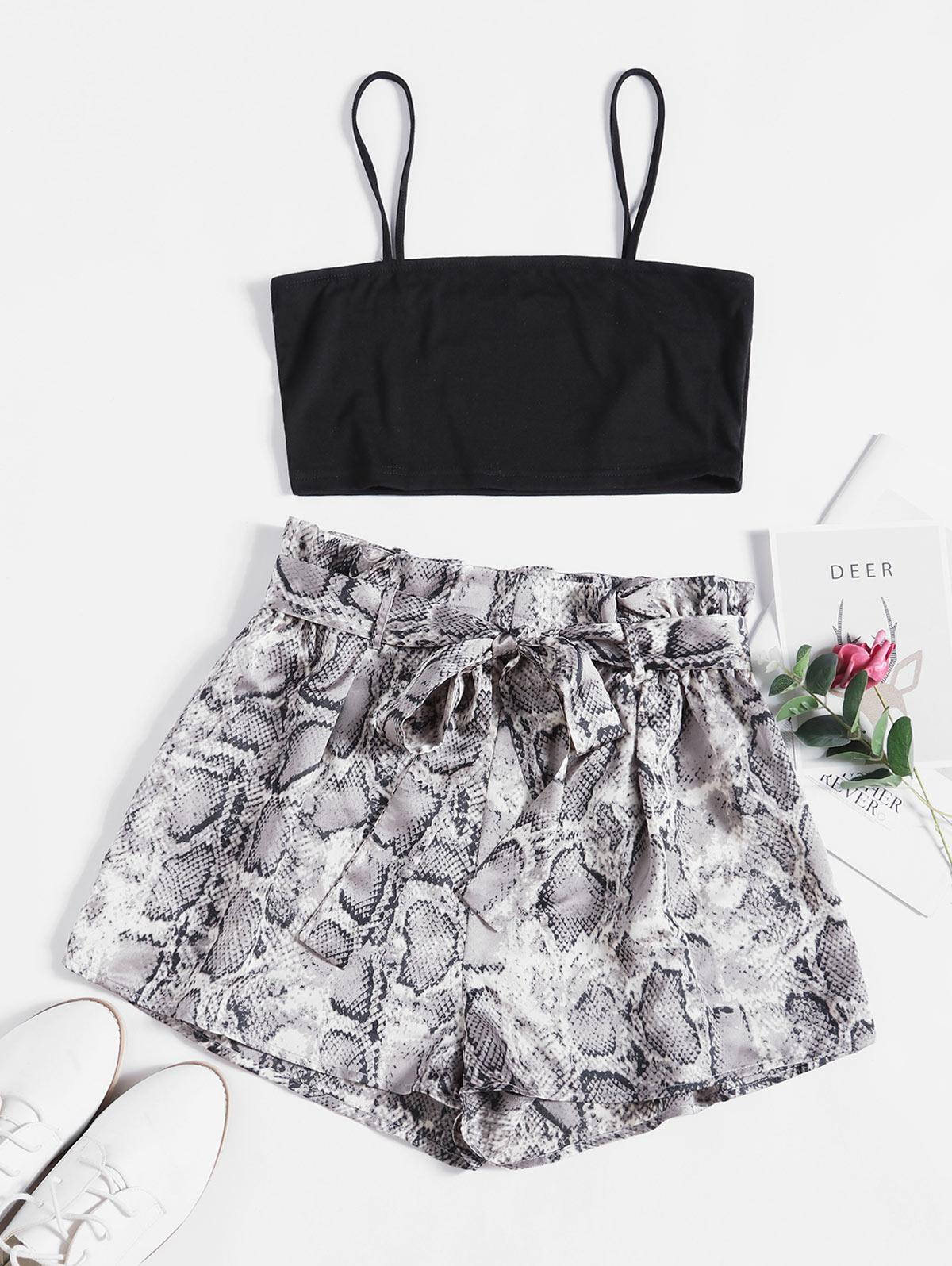 ZAFUL Snake Print Belted Co Ord Set thumbnail