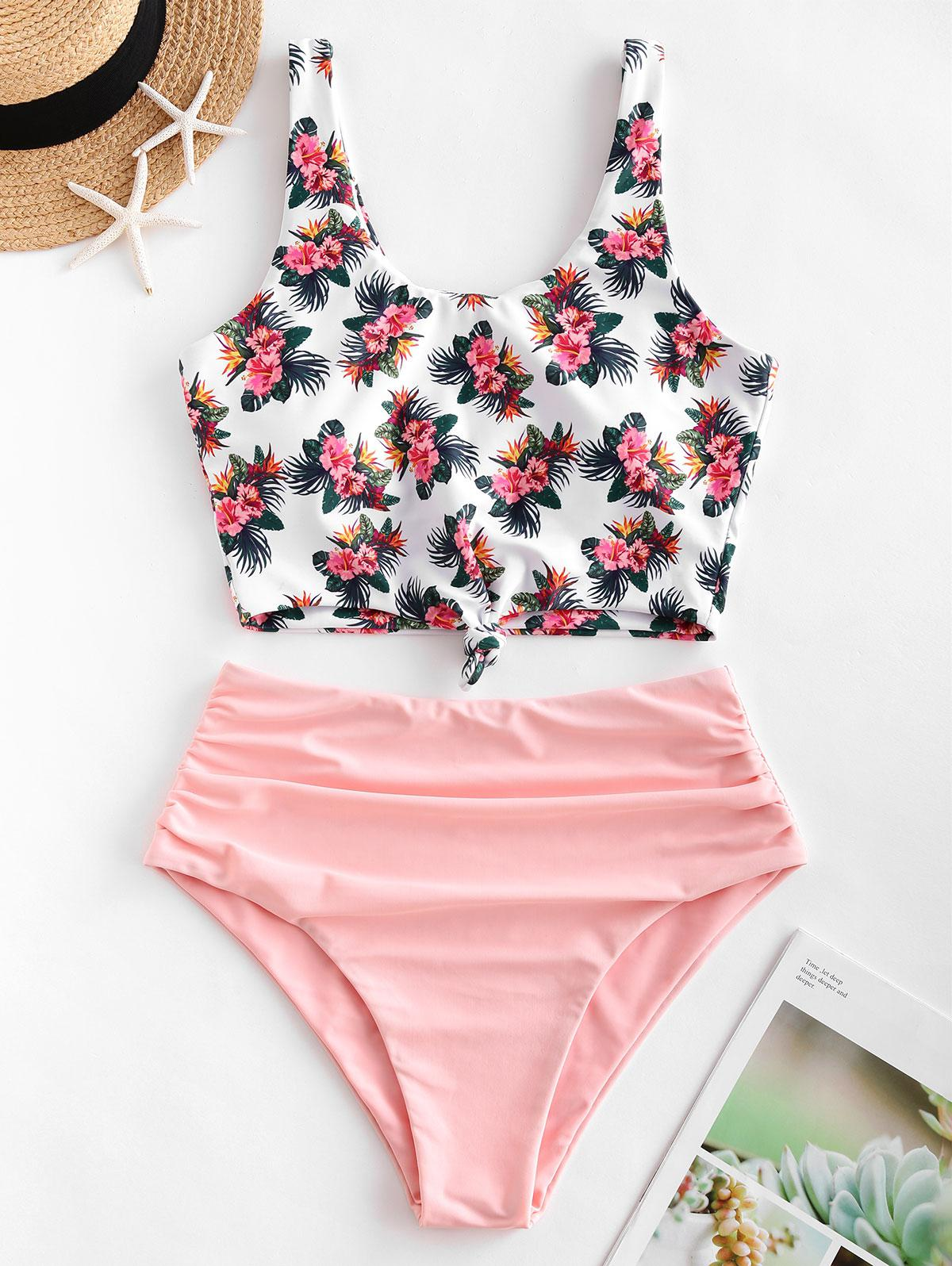 ZAFUL Flower Print Knotted High Cut Tankini Swimsuit