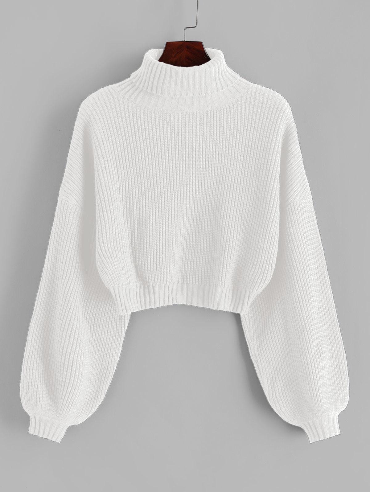 ZAFUL Turtleneck Lantern Sleeve Cropped Sweater