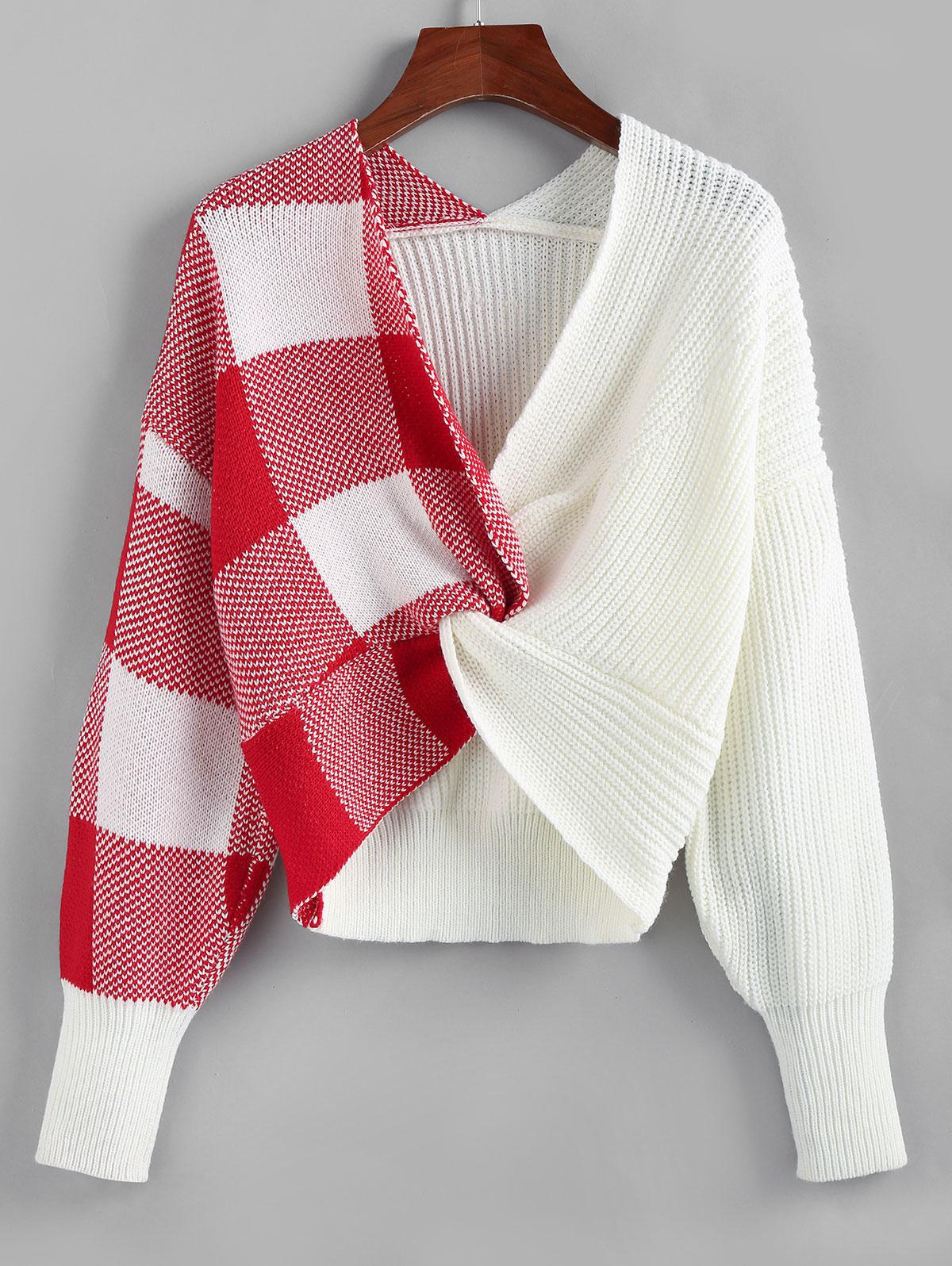 ZAFUL Plaid Twisted Drop Shoulder Jumper Sweater