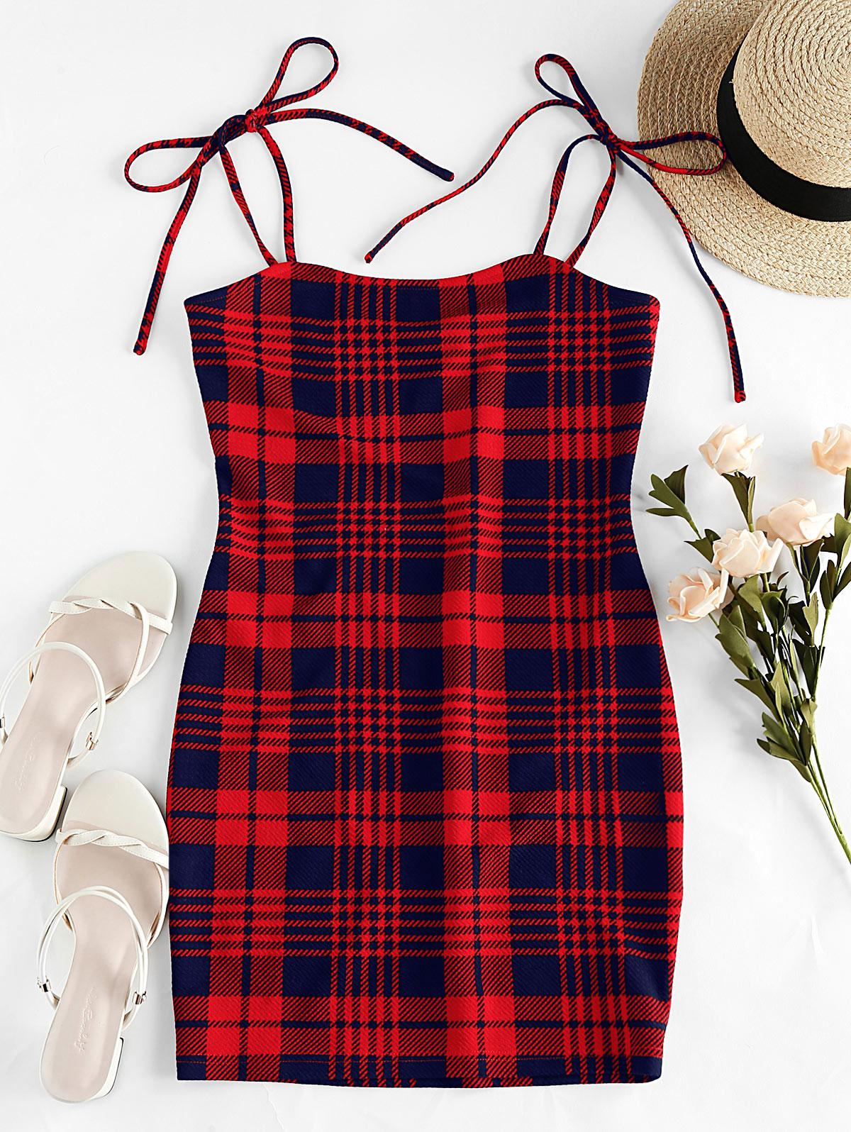 ZAFUL Houndstooth Plain Tie Shoulder Bodycon Dress