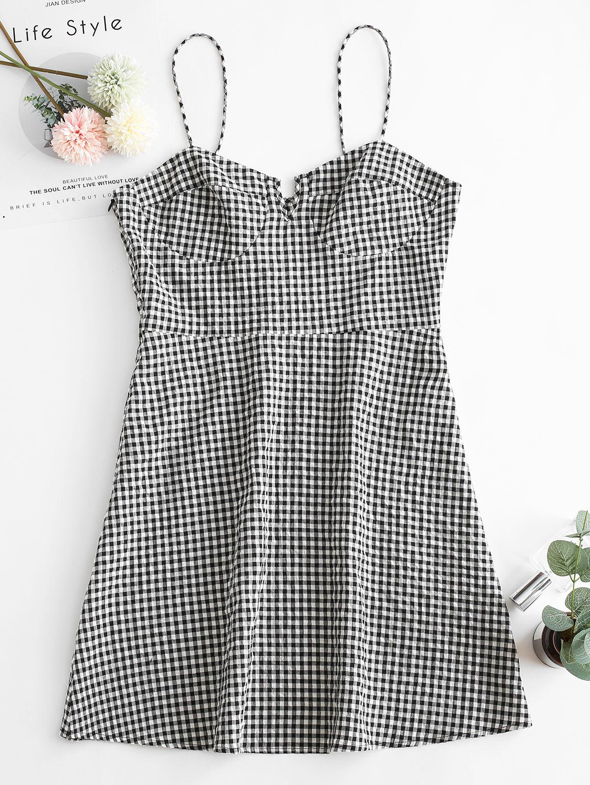 ZAFUL Gingham V Notch Cami Mini Dress