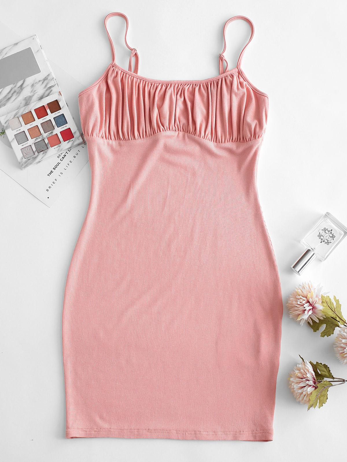 ZAFUL Ruched Bodycon Solid Cami Dress