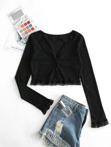 Ribbed Lace Panel Button Up Cardigan