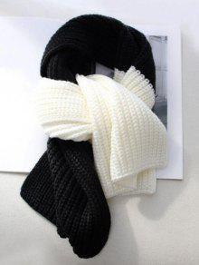 الشتاء Colorblock محبوك وشاح الرقبة - أسود