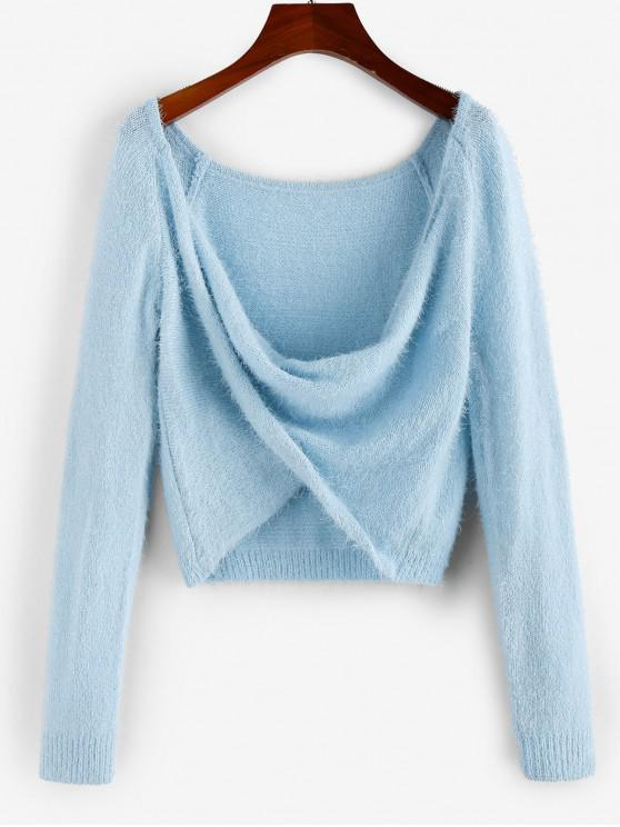 buy ZAFUL Cowl Twist Front Fuzzy Sweater - PASTEL BLUE L