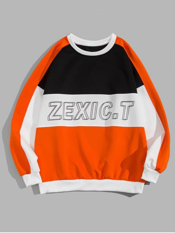 online Color Blocking Spliced Letter Graphic Print Sweatshirt - ORANGE M