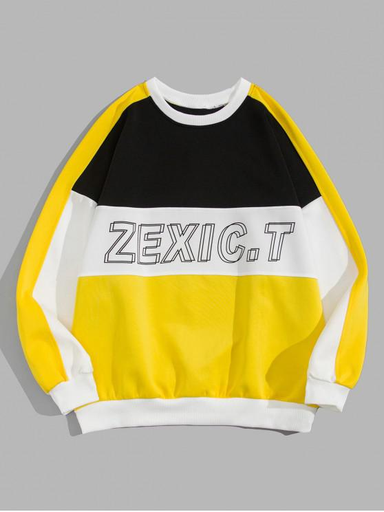 trendy Color Blocking Spliced Letter Graphic Print Sweatshirt - YELLOW 2XL