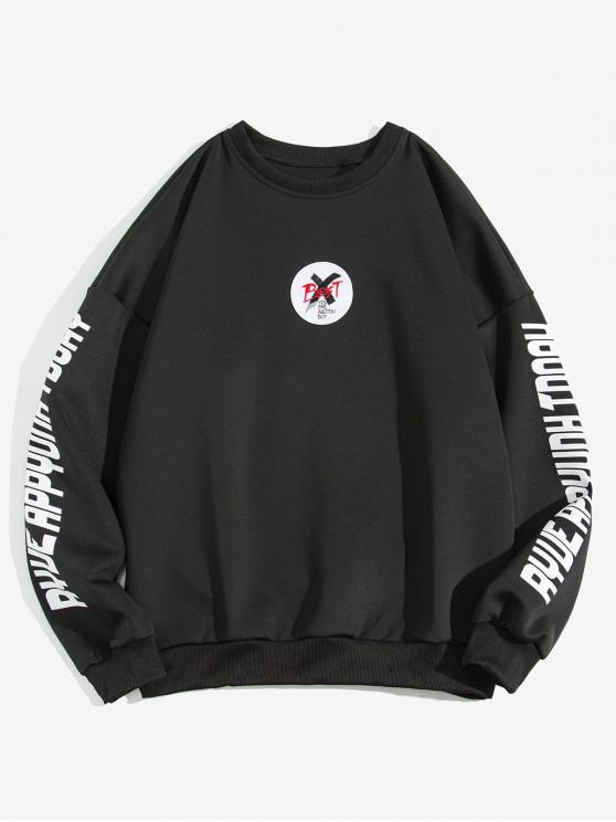 unique Letter Cross Graphic Print Drop Shoulder Sweatshirt - BLACK XL