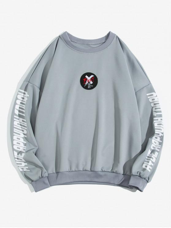 women Letter Cross Graphic Print Drop Shoulder Sweatshirt - GRAY XL