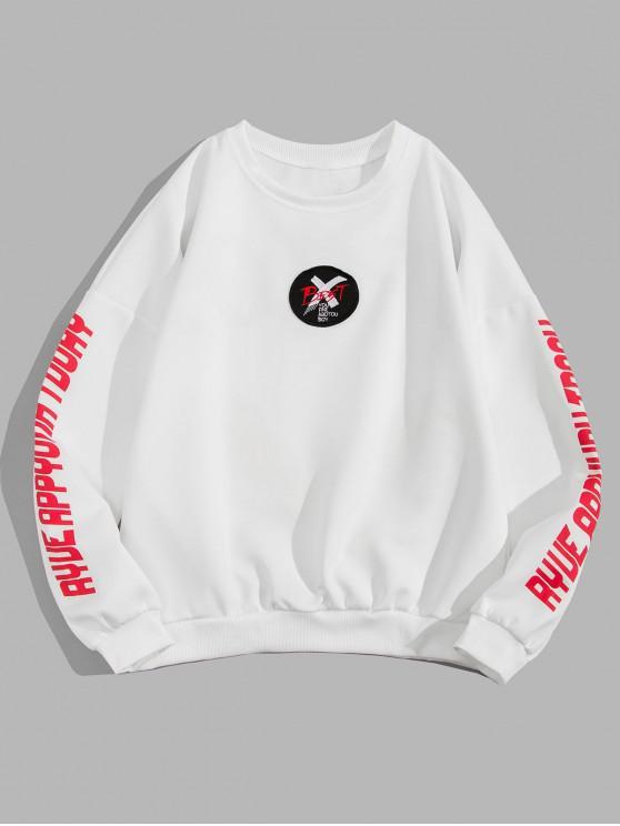 Scrisoare Cross Graphic Print Picătură Umăr Sweatshirt - alb 3XL