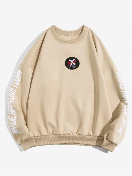 latest Letter Cross Graphic Print Drop Shoulder Sweatshirt - KHAKI 3XL