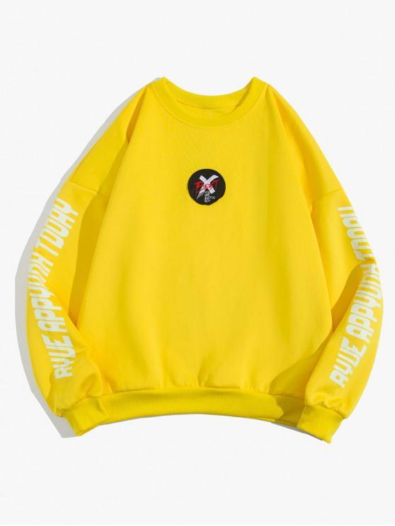 unique Letter Cross Graphic Print Drop Shoulder Sweatshirt - YELLOW 3XL