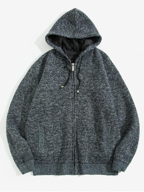 sale Solid Faux Fur Hooded Knit Jacket - CARBON GRAY XS