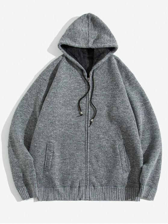 Solid Jacheta Faux Blana Hooded Knit - Gray Cloud XS