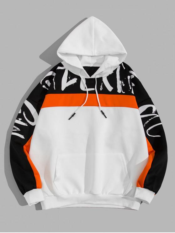 womens Letter Print Colorblock Spliced Casual Hoodie - WHITE 2XL