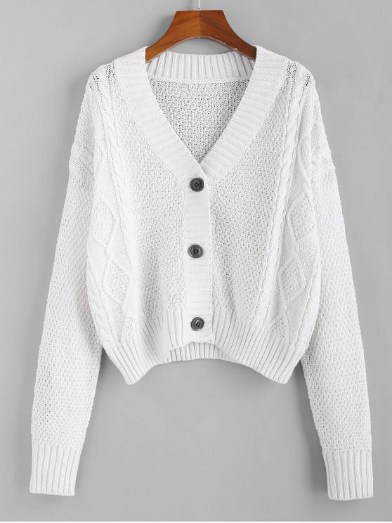 fashion ZAFUL Button Up Cable Knit Cardigan - COOL WHITE S