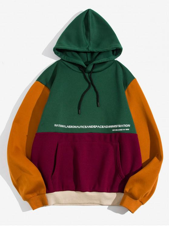 online Graphic Pattern Color Spliced Pocket Hoodie - MULTI-A M
