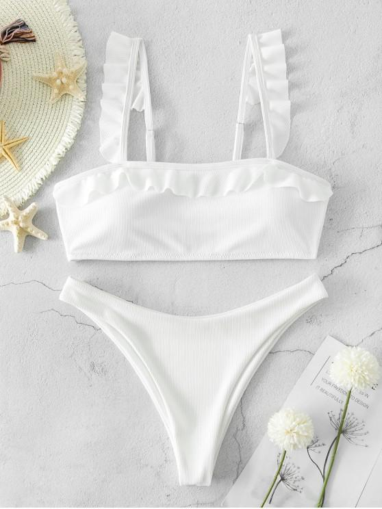 trendy ZAFUL Ribbed High Cut Ruffled Bikini Swimsuit - WHITE L