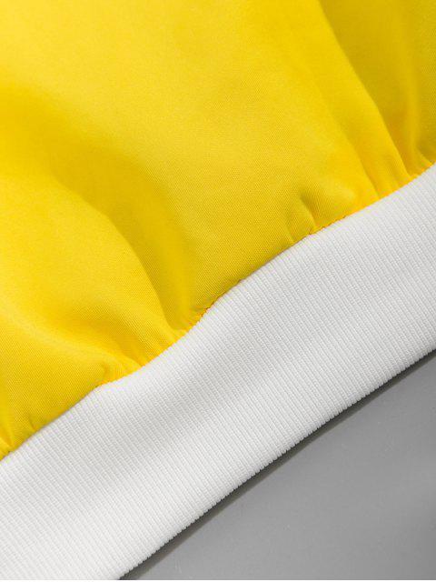 色塊拼接圖形信打印卹 - 黃色 3XL Mobile