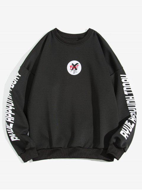 信十字圖形打印液滴肩運動衫 - 黑色 3XL Mobile