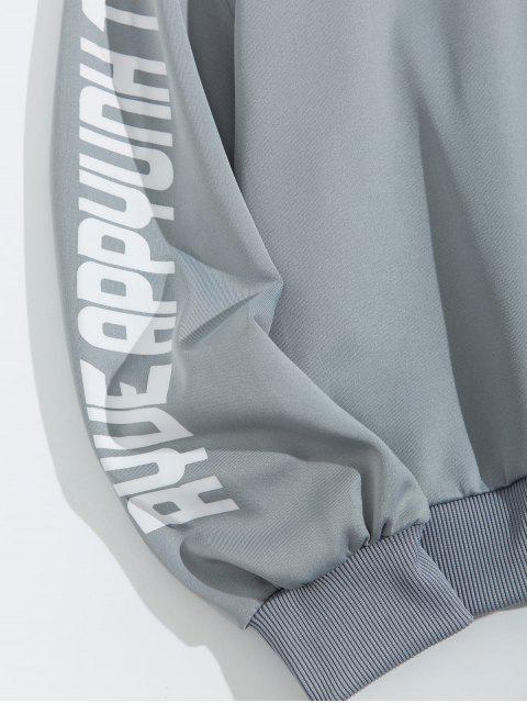 信十字圖形打印液滴肩運動衫 - 灰色 2XL Mobile