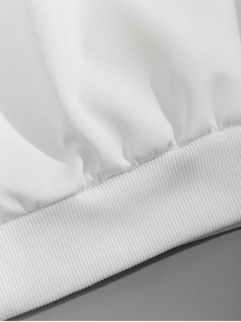 信十字圖形打印液滴肩運動衫 - 白色 L Mobile