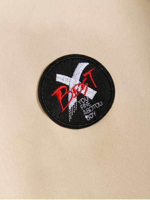 信十字圖形打印液滴肩運動衫 - 黃褐色 3XL Mobile