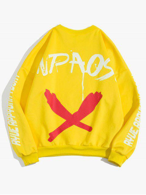 信十字圖形打印液滴肩運動衫 - 黃色 M Mobile
