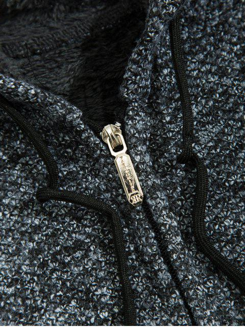 固體人造毛皮連帽針織外套 - 碳灰色 M Mobile