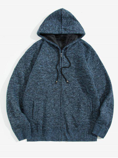 ladies Solid Faux Fur Hooded Knit Jacket - MARBLE BLUE XS Mobile