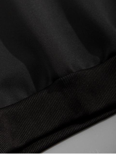 Buchstabedruck Farbblock Gespleißte Känguru Tasche Hoodie - Schwarz 3XL Mobile