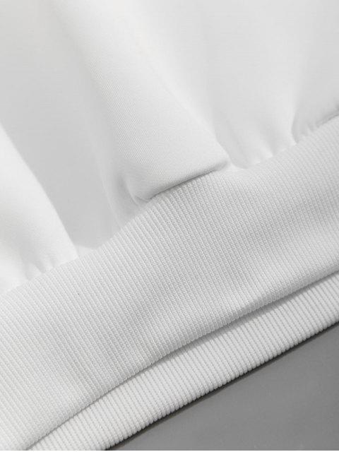 信打印Colorblock拼接休閒衛衣 - 白色 L Mobile