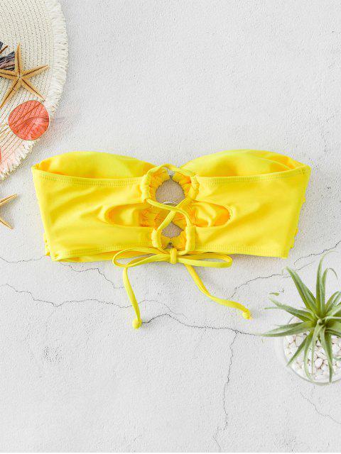 ZAFUL O型環系帶褶飾Bandeau手比基尼 - 黃色 XL Mobile