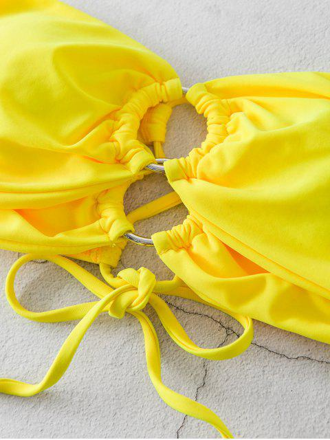 affordable ZAFUL Lace Up Ring High Cut Bandeau Bikini Swimsuit - YELLOW S Mobile