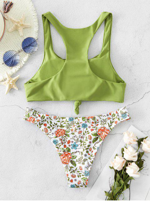 ZAFUL Bikini de Cintura Baja Anudado con Flores - Verde de Pistacho L Mobile