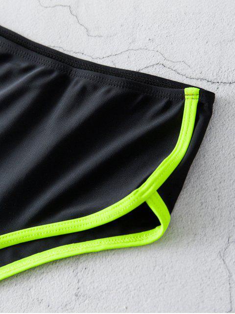 ZAFUL Hochgeschnittener Neon Trim Bikini Unterteile - Schwarz 2XL Mobile