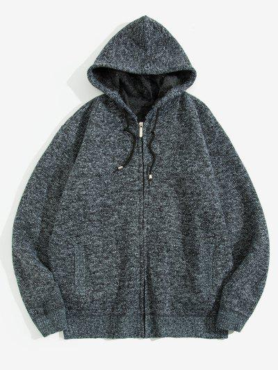 Solid Faux Fur Hooded Knit Jacket - Carbon Gray Xs