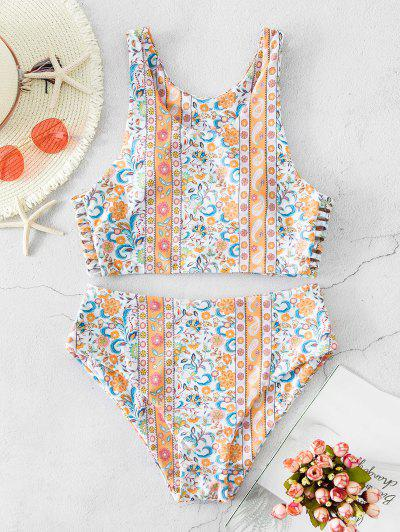 Boho Floral Ladder Cut Tankini Swimwear