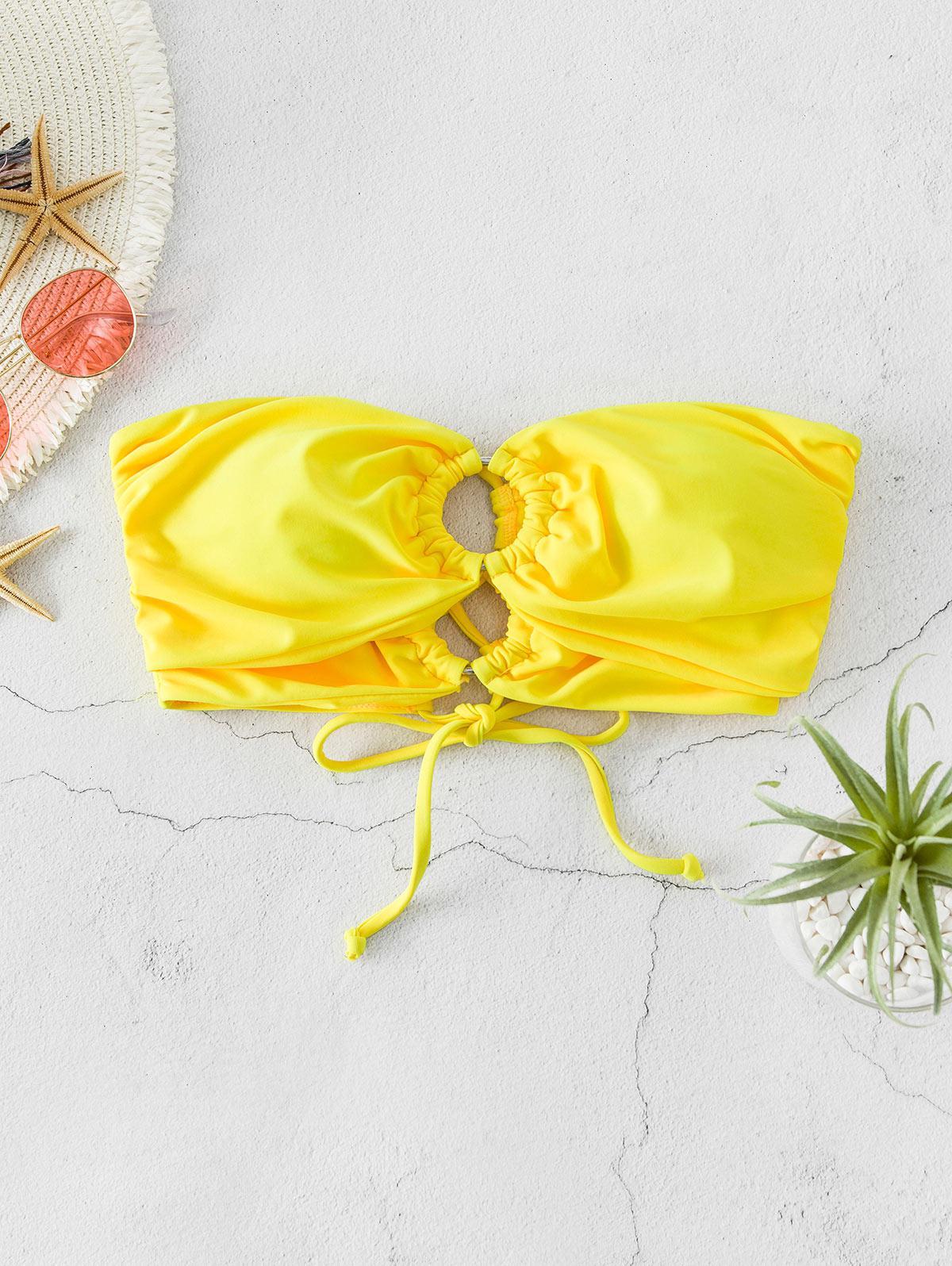ZAFUL O-ring Lace Up Ruched Bandeau Bikini Top фото