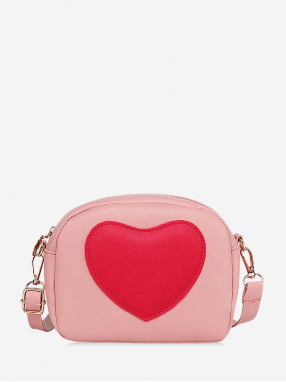 unique Heart Pattern Colorblock Crossbody Bag - LIGHT PINK