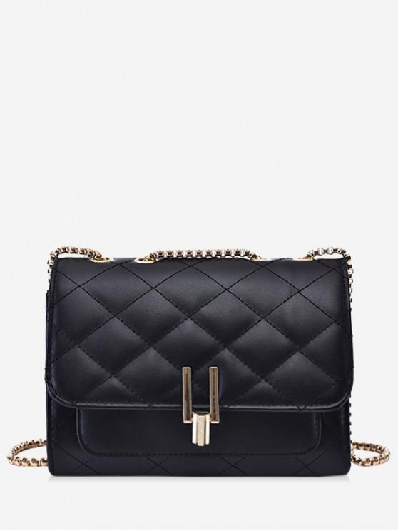 affordable Rectangle Chain Quilted Crossbody Bag - BLACK