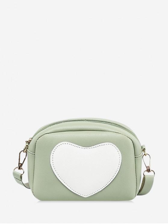 women Heart Pattern Colorblock Crossbody Bag - MINT GREEN