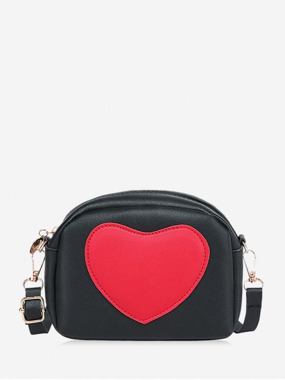 ladies Heart Pattern Colorblock Crossbody Bag - BLACK