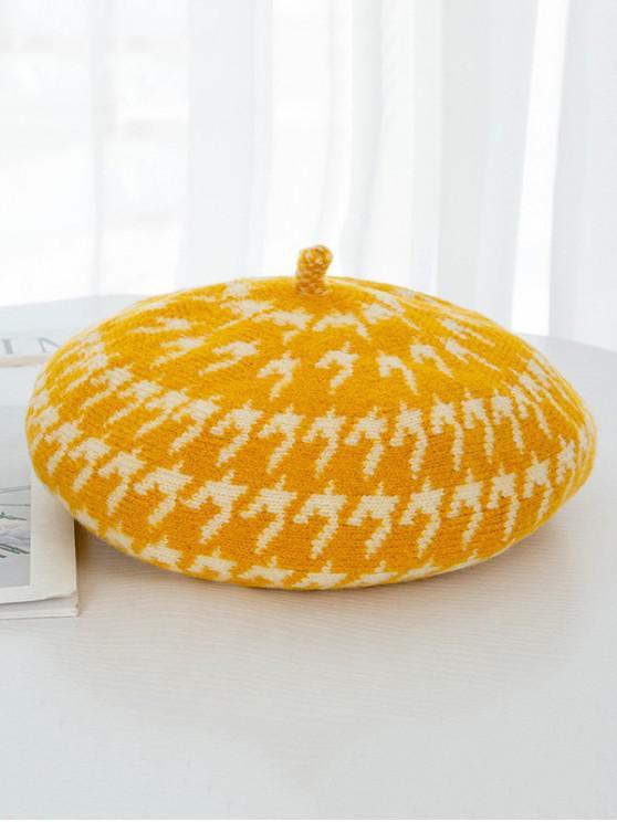 مطبوعة Houndstooth رسام قبعة القبعات - الأصفر